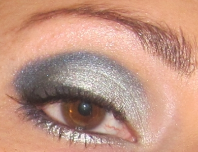 Silver and Navy Blue Smoky eye