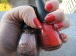 Roguish Red Manicure with Glitter Goblin tips - a Halloween manicure