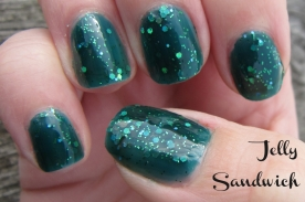 "teal jelly sandwich nails using ""Frida"" nail polish by Zoya"