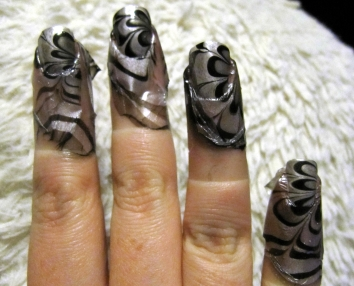 nail marbling tutorial - silver and black nails