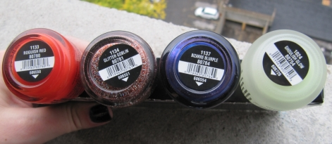 Roguish Red, Glitter Goblin, Bizarre Blurple and Ghoulish Glow (China Glaze's Wicked Collection)