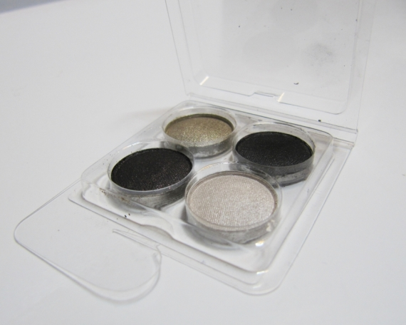 Gunmetal, Candlelight, Ashen and Incognito eye shadow samples from ipsy (Coastal Scents)