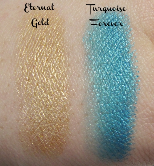 """Eternal Gold"" and ""Turquoise Forever"" swatches (Color Tattoo 24 hr)"